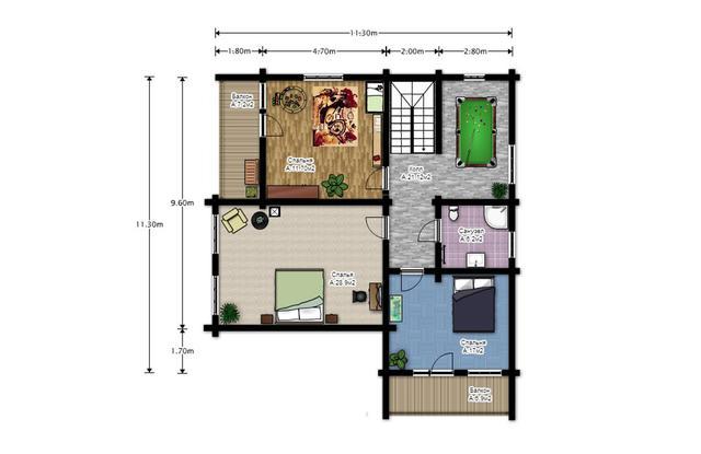 проект двухэтажного дома из бруса с сауной и бильярдной, план двухэтажного дома и строительство под ключ, проектирование и строительство деревянных домов.