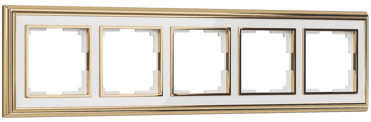 Рамка на 5 постов /WL17-Frame-05 (золото/белый)