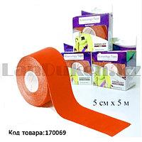 Пластырь для поддержки мышц Kinesiology Tape спортивный тейп Кинезио 5 см х 5 м (оранжевый)