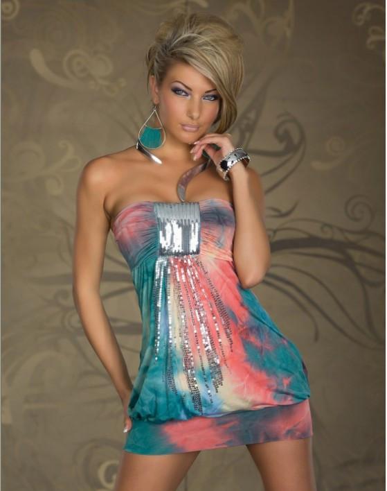 Стильное,Трехцветное платье - фото 1