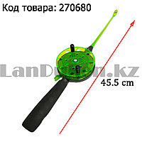 Зимняя удочка для блеснения разборная (зеленая катушка) 45,5 см