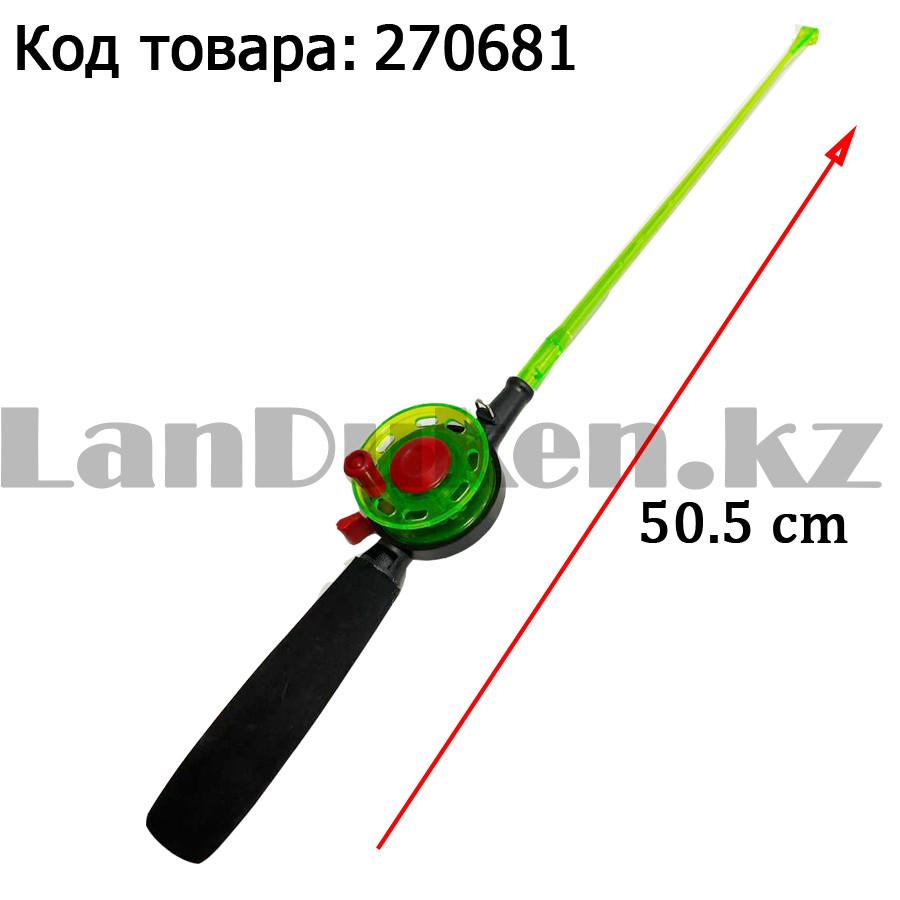 Зимняя удочка для блеснения разборная (зеленая катушка) 50,5 см - фото 1