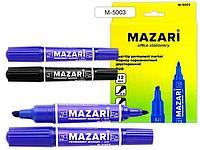Маркер перм. двухсторонний MAZARI DUO синий 2мм/6мм пулевидный и кллиновидный