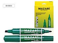 Маркер перм. двухсторонний MAZARI DUO зеленый 2мм/6мм пулевидный и кллиновидный