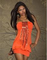 Ярко Оранжевое короткое платье с блестками