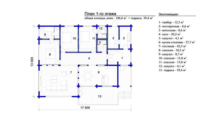 Проект 1-этажного дома из бруса, план двухэтажного дома и строительство под ключ, проектирование и строительство деревянных домов.
