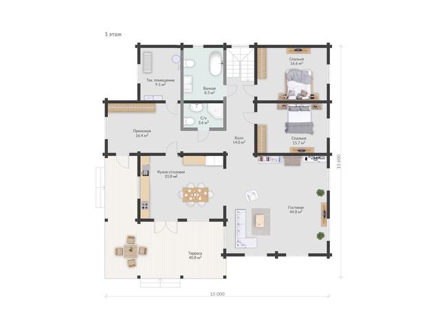 Проект одноэтажного дома из бруса, план двухэтажного дома и строительство под ключ, проектирование и строительство деревянных домов.