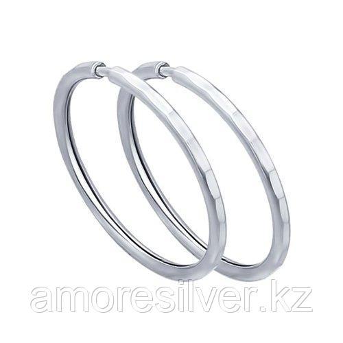 Серьги SOKOLOV серебро с родием, без вставок 94140071