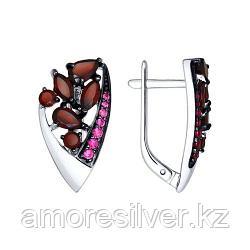 Серьги SOKOLOV серебро с родием, гранат корунд синт. 92021497