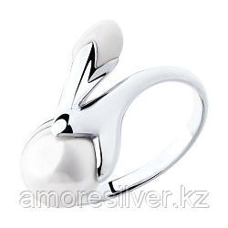 Кольцо SOKOLOV серебро с родием, эмаль жемчуг синт. 94012435 размеры - 19 19,5