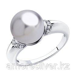 Кольцо SOKOLOV серебро с родием, жемчуг swarovski синт.  фианит  94011937 размеры - 19,5