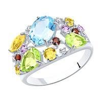 Кольцо SOKOLOV серебро с родием, топаз фианит гранат цитрин аметист хризолит, многокаменка 92010223 размеры -