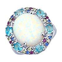 Кольцо SOKOLOV серебро с родием, опал синт. фианит , круг 83010050