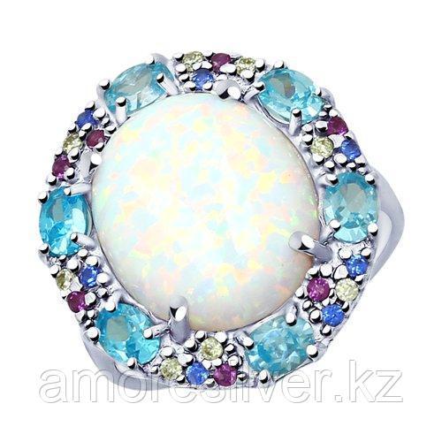 Кольцо SOKOLOV серебро с родием, опал синт. фианит , круг 83010050 - фото 1