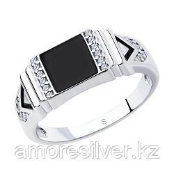 Печатка из серебра с эмалью с фианитами  SOKOLOV 94011323 размеры - 18 18,5 19,5 20 21 21,5 22 22,5