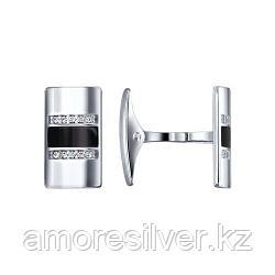 Мужские запонки мужчинам SOKOLOV серебро с родием, эмаль фианит , классика 94160019