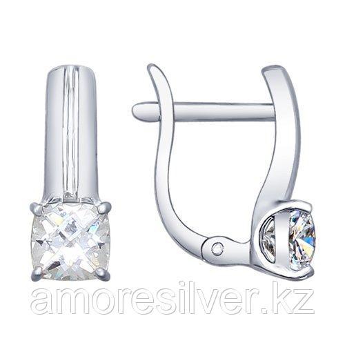 Серьги SOKOLOV серебро с родием, фианит swarovski  89020057