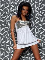 Белое клубное платье с паетками