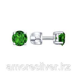 Серебряные пусеты с зелёным фианитом  SOKOLOV 94020531