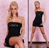 Сексуальное,клубное черное мини-платье с паетками