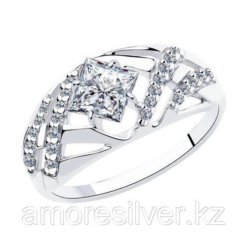 Кольцо SOKOLOV серебро с родием, фианит  94012966 размеры - 16,5 17,5 18 18,5 19