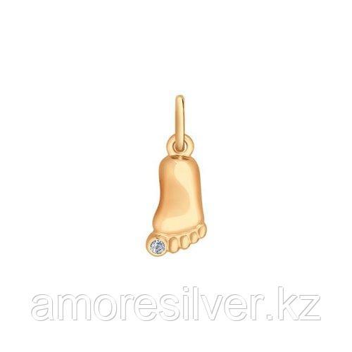 Подвеска из золочёного серебра с фианитом SOKOLOV 93030285