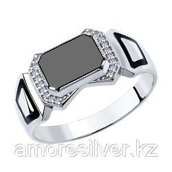 Печатка SOKOLOV серебро с родием, фианит  эмаль наношпинель  94011392 размеры - 20