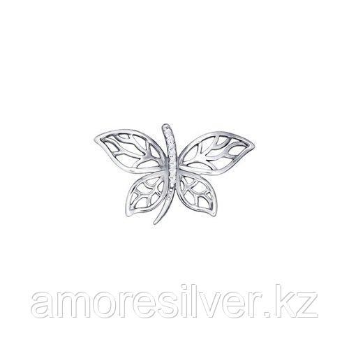 Подвеска в форме бабочки SOKOLOV серебро с родием, фианит , бабочка 94030695