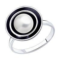 Кольцо SOKOLOV из черненного серебра, жемчуг синт. 95010123 размеры - 16,5 17,5 19,5 20,5