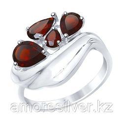 Кольцо SOKOLOV серебро с родием, гранат, многокаменка 92011443 размеры - 18 20