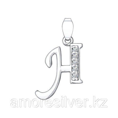 Подвеска-буква SOKOLOV серебро с родием, фианит  94030457
