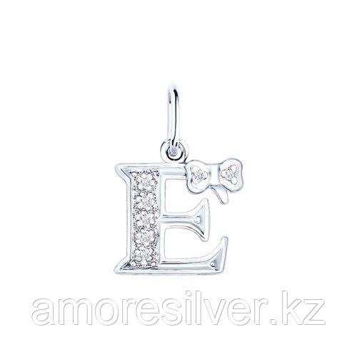 Подвеска-буква SOKOLOV серебро с родием, фианит  94030473