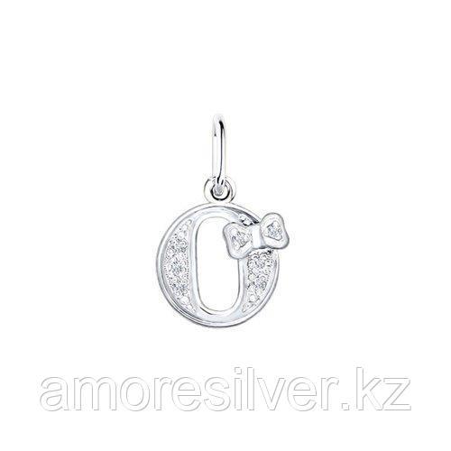 Подвеска-буква SOKOLOV серебро с родием, фианит  94030478