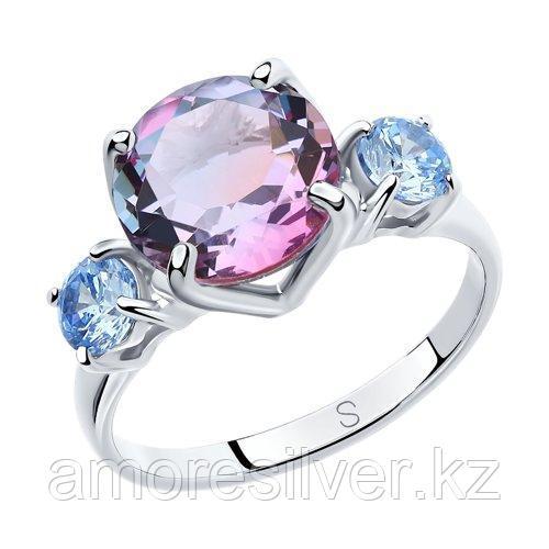 Кольцо SOKOLOV серебро с родием, ситал синт. фианит , многокаменка 92011718 размеры - 18