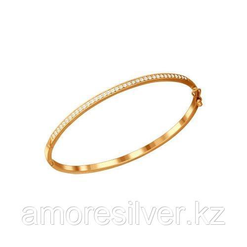 Браслет жёсткий SOKOLOV серебро с позолотой, фианит , жесткий браслет 93050050 размеры - 17 18 19