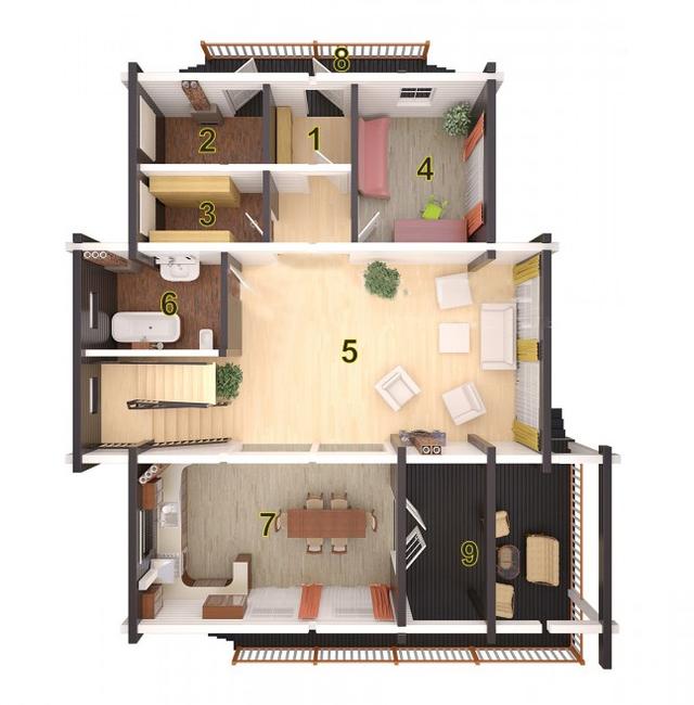 Проект двухэтажного дома из бруса с террасой, план двухэтажного дома и строительство под ключ, проектирование и строительство деревянных домов.