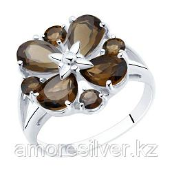 Кольцо SOKOLOV серебро с родием, раух-топаз 92011857 размеры - 17 17,5