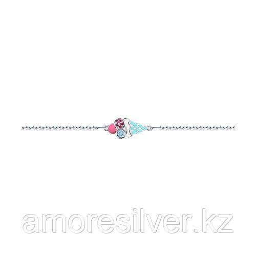 Браслет SOKOLOV серебро с родием, эмаль фианит  корунд синт. 94050443 размеры - 17