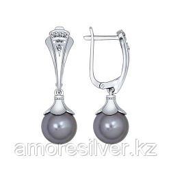 Серьги SOKOLOV серебро с родием, жемчуг swarovski синт.  фианит  94022084