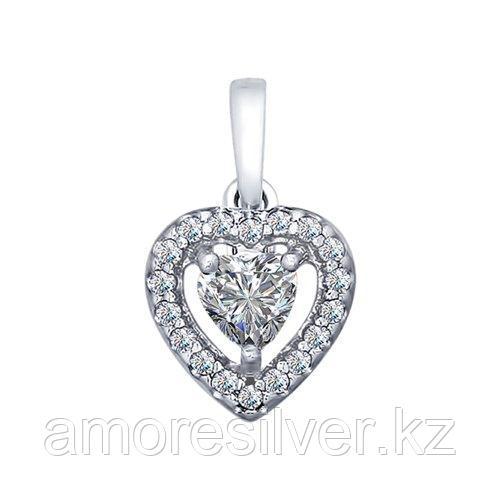 Подвеска SOKOLOV серебро с родием, фианит swarovski  89030021