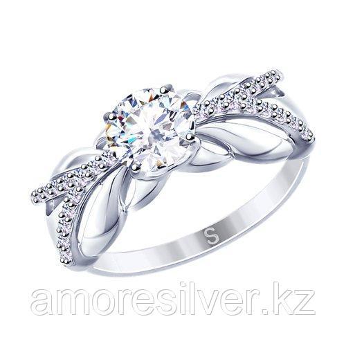 Кольцо SOKOLOV серебро с родием, фианит swarovski  89010110 размеры - 19,5 20 20,5 21 21,5