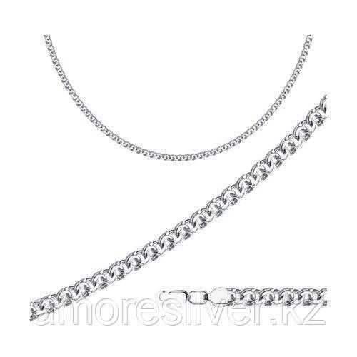 Цепь SOKOLOV серебро с родием, без вставок, бисмарк, карабинный замок 968140804 размеры - 45 50 55 60 65
