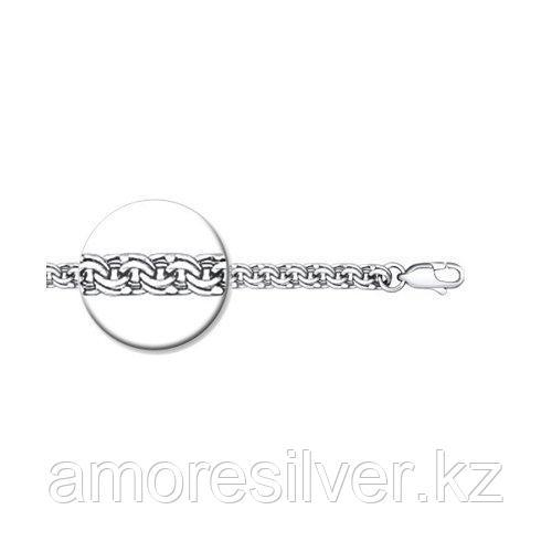 Браслет мужчинам SOKOLOV серебро с родием, без вставок, бисмарк, карабинный замок 965140804 размеры - 18 19 20