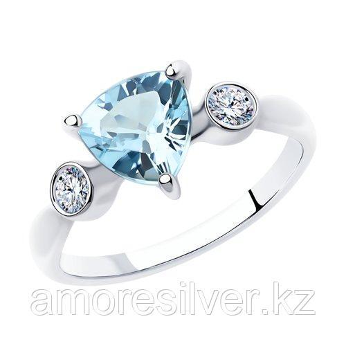 Кольцо SOKOLOV серебро с родием, топаз фианит  92011743 размеры - 19,5