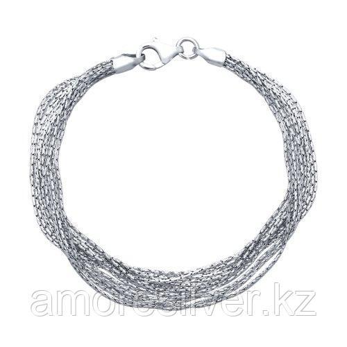 Серебряный многослойный браслет SOKOLOV серебро с родием, без вставок 94054539 размеры - 18 19