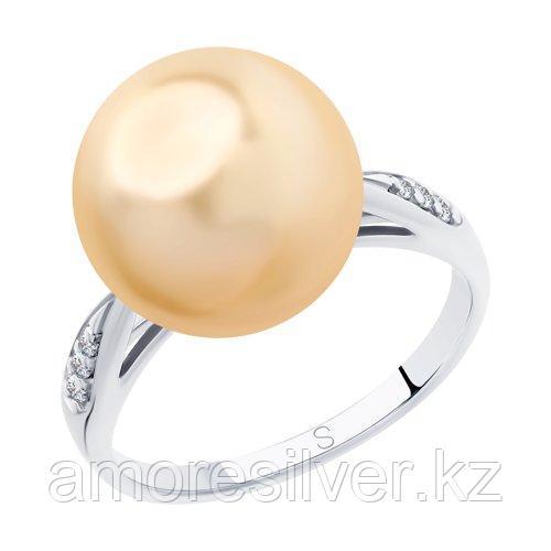 Кольцо SOKOLOV серебро с родием, жемчуг swarovski синт.  фианит  94012889 размеры - 17,5