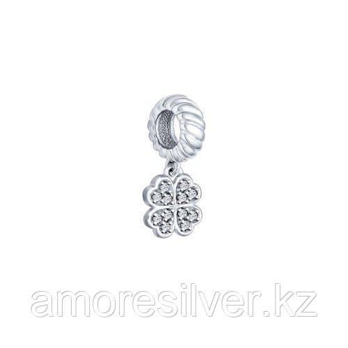 Подвеска-шарм клевер SOKOLOV серебро с родием, фианит  94031627