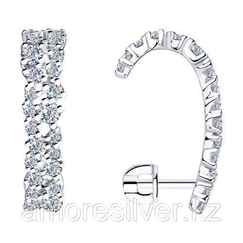 Серьги SOKOLOV серебро с родием, фианит  94023637