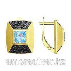 Серьги SOKOLOV серебро с позолотой, топаз 92022298