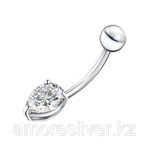 Пирсинг в пупок SOKOLOV серебро с родием, фианит  94060066
